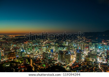 Dusk city view of Seoul. Suitable for a fusturistic o night view for a modern city.