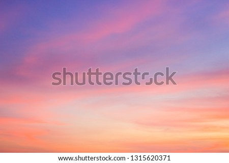 Dusk,Evening sky with colorful sunlight,Beautiful sunset cloud on twilight,majestic peaceful nature background.