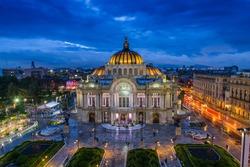 Dusk falls over the Palacio de Bellas Artes in Mexico City.