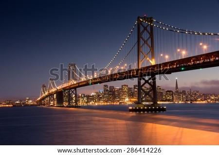 Dusk over San Francisco-Oakland Bay Bridge and San Francisco Skyline from Yerba Buena Island