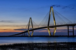 Dusk over the Arthur Ravenal bridge and Cooper River in Charleston South Carolina