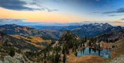Dusk panorama in the Wasatch Mountains, Utah, USA.
