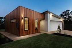 Dusk shot of a contemporary Australian home