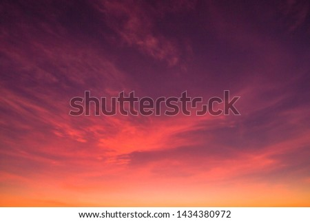 Dusk,Sunset Sky in the Evening,Dramatic and Wonderful Cloud on Twilight,Majestic Dark Blue Sky Nature Background,Colorful Cloud on summer season,Idyllic Peaceful Sunlight