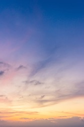 Dusk Vertical,Sunset Sky Twilight in the Evening with colorful Sunlight and Dark blue Sky, Majestic summer nice sky vertical.