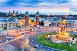 Dusk view of Barcelona, Spain. Plaza de Espana