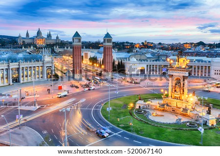 Photo of  Dusk view of Barcelona, Spain. Plaza de Espana