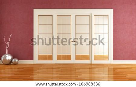 Dusky red room with closed sliding door - rendering