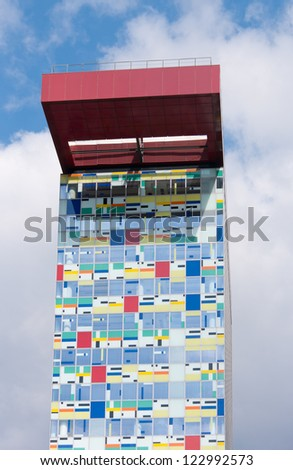 DUSSELDORF - AUGUST 11: Colorium building on august 11, 2012 in Dusseldorf.  A once-industrial harbor finds its future in a new landmark woven with a tapestry of color, designed by Alsop Architects