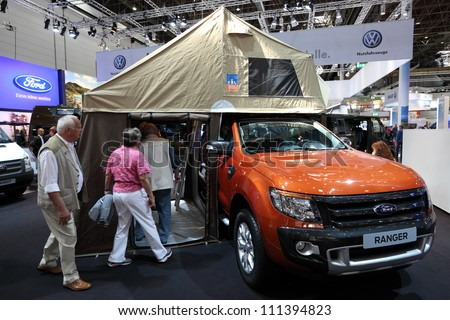 DUSSELDORF - AUGUST 27: Ford Ranger pickup truck at the Caravan Salon Exhibition 2012 on August 27, 2012 in Dusseldorf, Germany - stock photo