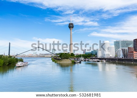 Dusseldorf cityscape skyline at summer, Germany #532681981