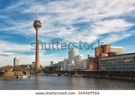 Dusseldorf cityscape with view on media harbor, Germany #364469966