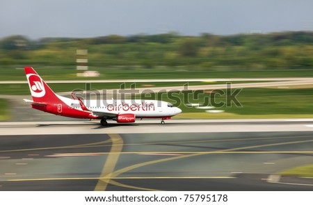 DUSSELDORF, GERMANY - APRIL 15: Airplane Boeing 737-76J landed in the airport on April, 15 2011 in Dusseldorf. The AirBerlin is the second largest airline in Germany.