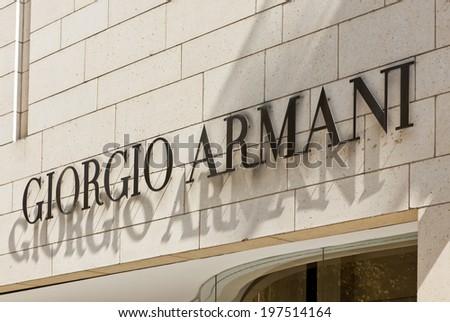 Dusseldorf, Germany - August 20,2011: Giorgio Armani signage above store entrance on Koenigsallee. Giorgio Armani S.P.A.  is an international Italian fashion house headquartered in Milan, Italy.