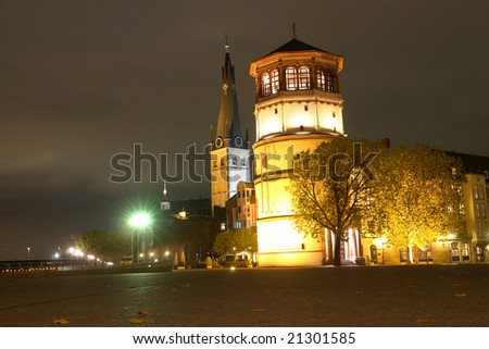 Dusseldorf - Schlob?turm and Lambertuskirche, Burgplatz - Navigation museum