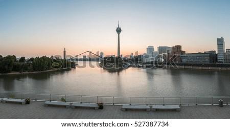 Dusseldorf sunrise panorama, germany #527387734