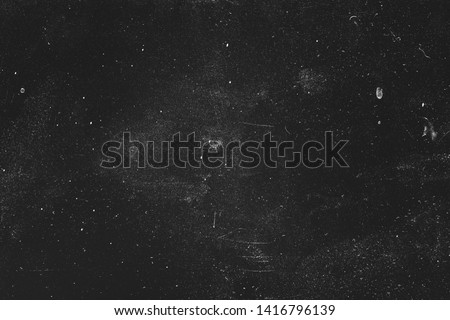 Dust and scratches design. Aged photo editor layer. Black grunge abstract background. Copy space.