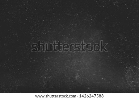 Dust and scratches design. Black abstract background. Vintage stained overlay. Copy space.