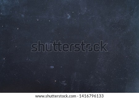 Dust and scratches design. Dark blue abstract background. Night sky effect. Copy space.
