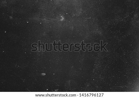 Dust and scratches design. Distressed photo editor layer. Black abstract background. Copy space.
