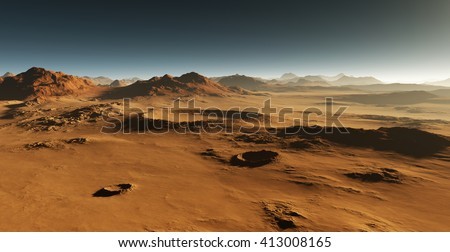 Dust on Mars. Sunset on Mars. Martian landscape with craters. All art elements made by me.