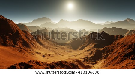 Shutterstock Dust storm on Mars. Sunset on Mars. Martian landscape with craters