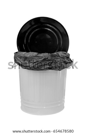 Dustbin with plastic black open cover isolated on white background. This has clipping path.
