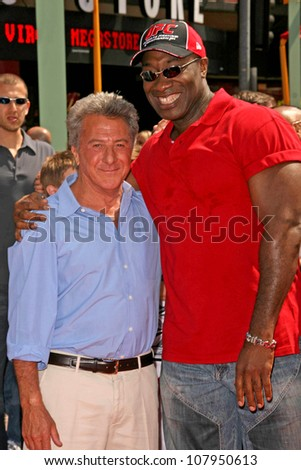 "Dustin Hoffman and Michael Clarke Duncan at the Los Angeles Premiere of ""Kung Fu Panda"". Grauman's Chinese Theatre, Hollywood, CA. 06-01-08 - stock photo"