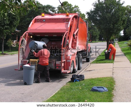 dustmen at work - stock photo