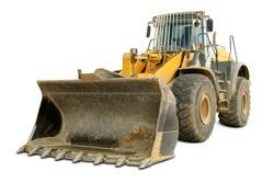 Dusty big bulldozer, isolated on pure white background