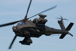 Dutch attack helicopter in the air above Deelen (Netherlands)