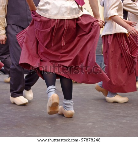 dutch dancers in festival in summer