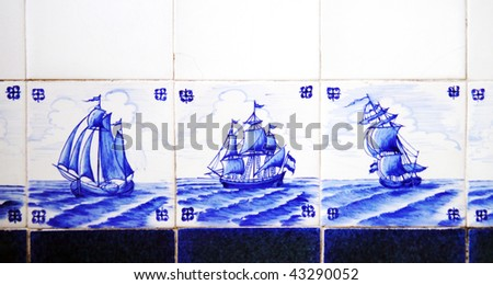 dutch delft blue tiles ships