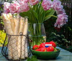 Dutch farmers high quality products, fresh white asparagus, red ripe strawberry and pink tulips flowers in spring sunny garden