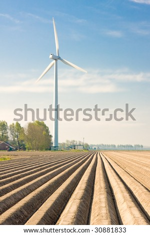 Dutch farmland with windmill