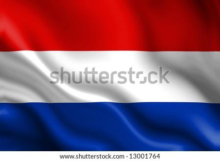 Dutch flag waving in the wind