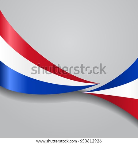 Dutch flag wavy abstract background. Raster version.