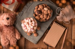 Dutch holiday Sinterklaas. kruidnoten cookies sweets, cocoa with marshmallows, gift and a letter for Saint Nicholas. Children party Saint Nicholas day five december. Copy space
