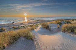 Dutch landscape and sunset at Westenschouwen, The Netherlands