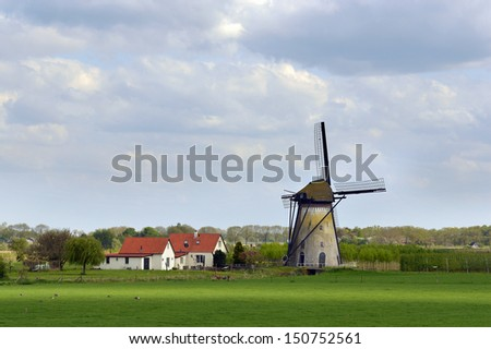 Dutch Landscape with a diked marsh mill in Lienden, Netherlands