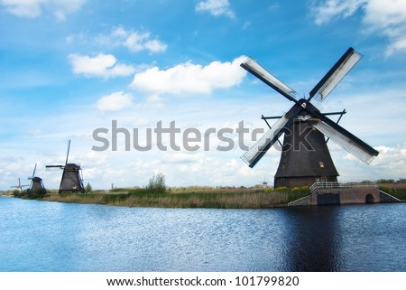dutch landscape with old windmills