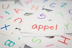 Dutch; Learning the New Word with the Alphabet Cards (Translation; Apple)
