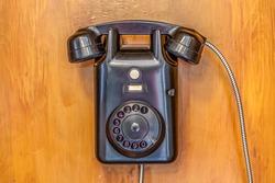 Dutch old fashioned black bakalite wall phone