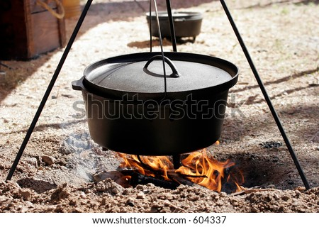 Dutch oven cooking over an open flame