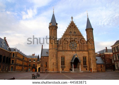 Dutch Parliament. Ridderzaal on the Binnenhof in The Hague