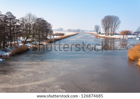 Dutch polder landscape in winter with a frozen river and ducks swimming in the holes.