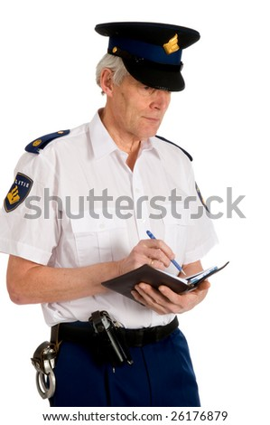 Dutch police man is writing a penalty