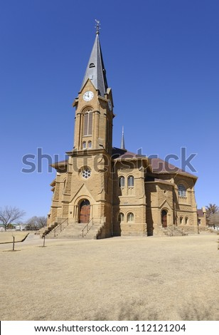 Dutch Reformed Church, Warden, Free State Province, South Africa. Historic sandstone architecture in a small rural town.