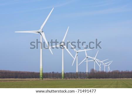 Dutch rural landscape with big windturbines