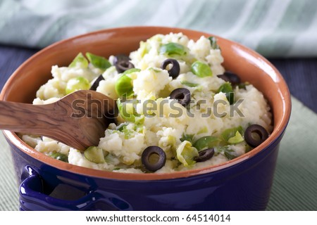 Dutch stamppot (gourmet mashed potatoes) with brussel sprouts and olives.  mmm lekker!